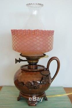 Gwtw Oil Kerosene Arts & Crafts Antique Meriden Mt. Washington Burmese Glass Lamp