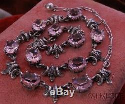 HEAVY! Vtg CINI STERLING Pink Sapphire Glass ART DECO NOUVEAU Etruscan NECKLACE