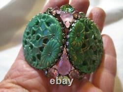 HUGE Signed SCHREINER Brooch/Pendant Pin Pink Jade Green Plastic glas High Dome