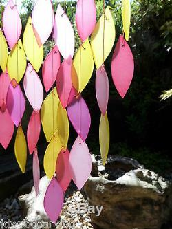 Hand Made Glass Waterfall Garden Art Pink Leaf Wind Chime Mobile Windchime