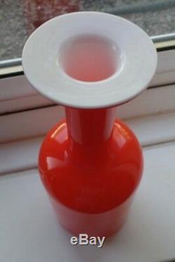 Holmegaard Glass Denmark Otto Brauer Coral Gul Vase 10 Inch Superb