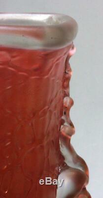 Huge15 LOETZ Art Nouveau glass vase decor Chiné Pink 1897 twisted tadpoles