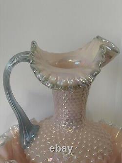 Iridized Shell Pink Hobnail pitcher & bowl with Salem Blue crest & handle