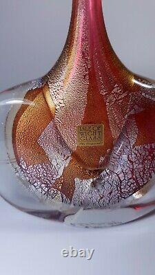 Isle of Wight Michael Harris Fish Vase Art Pink Glass Azurene Signed Silver Gold