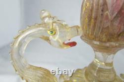 Italian Murano Art Glass Vase by Giulio Salviati & C. C. 1898 Dragon Handles