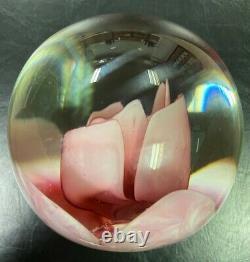 Joe St. Clair Crimp Rose Paperweight (Pink Leaves)