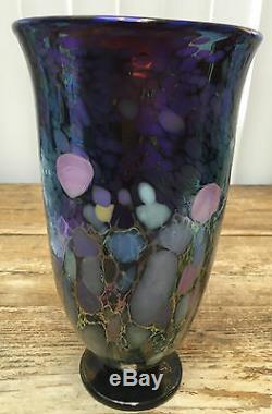 Joel Bloomberg Art Glass Vase 1994 Purple Pink Blue Iridescent 10 Tall Lovely