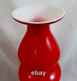 Kastrup-Holmegaard 30cm Carnaby Bulge Vase in Deep Coral & Opal Tallest Made
