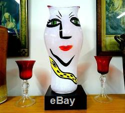 Kosta Boda Art Glass Ulrica Signed Pink Open Mind Lg 16 Vase Base Orig Stick