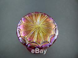 Kralik tall iridescent glass Draped vase Bohemian Art Nouveau pink cranberry