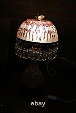 LARGE Bohemia 1960 Crystal glass pink table lamp drops