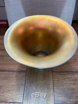 LARGE Lundberg Studios 2006 Blue, Green, Pink & Gold Swirl Art Glass Vase 7X10