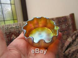 L. C. T. Favrile Small 10 Ruffled Salt, C 1910, Signed. Apricot/ Blue/ Pink. Vgc