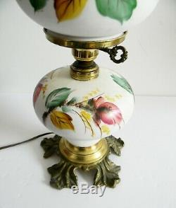 L G Wright peach blow Moss Rose lamp with art glass Fenton shades