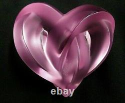 Lalique Coeur Crystal Pink Entwined Heart Signed Mint