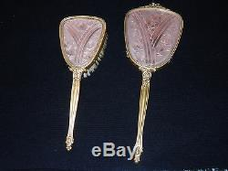 Lalique Pink Floral Mirror And Brush Set (1920's, 1930's)