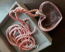 Lalique Pink'Heart-within-a-Heart' Pendant with Box