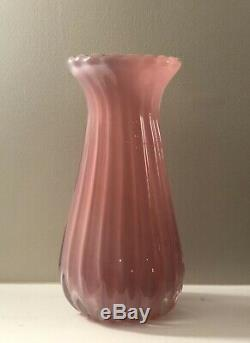 Large Archimede Seguso Murano Italy Pink Opalino Alabastro Vase 12 Tall