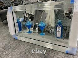 Large Blue Gin 4 Cocktail glass 3D glitter art in mirrored frame, Blue Drinks 3D