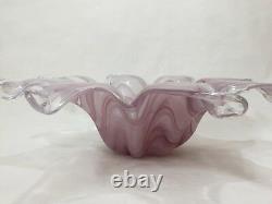 Large Lavorazione arte Murano Italy Glass Pink Centerpiece Bowl, 20 Wide x 6 H