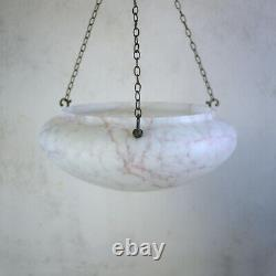 Large Vintage Art Deco Fly Catcher Glass Bowl Ceiling Light Shade Pink Marbled