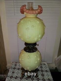 Lg FENTON Glass BURMESE Gone with the Wind Cabbage Rose 28.5'' Electric Lamp