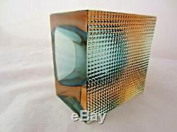 Light blue & pink faceted Murano art glass bowl by Alessandro Mandruzzato, Italy