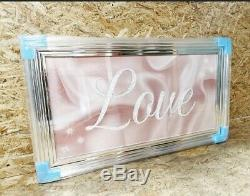 Liquid Glass Art, LOVE Print In Blush Pink Chrome Framed picture 125cmx75cm