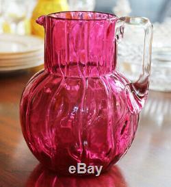 Loetz cranberry Creta Neptune pitcher (color called Rosa), ca 1905 12121