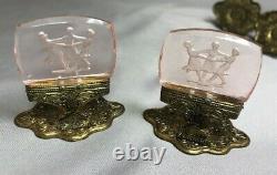 Lot 12 Vintage PINK INTAGLIO GLASS Czech PLACE CARD HOLDER