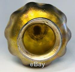 Louis Comfort Tiffany Favrile Gold & Pink Iridescent Wave Glass Vase Signed 3.5