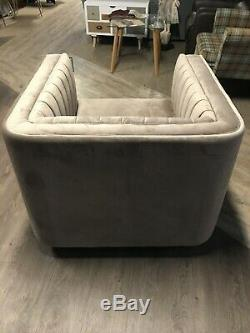 Luxurious Dusky Pink Art Deco Square Tub Armchair with Clear Perspex Glass Legs