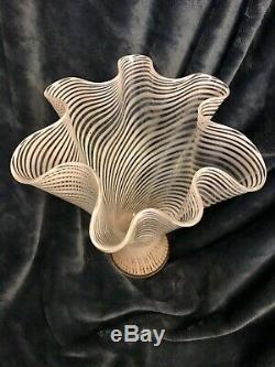 MCM Venini Era Fratelli Toso A Canne Murano Italian Swirl Glass Vase 11.5