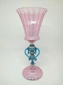 MURANO pink goblet handmade by Davide Fuin