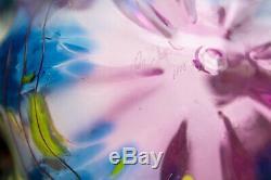 Macchia, cobalt blue & pink with flecks, yellow lip contemporary glass art