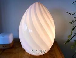 Maestri Murano 18 RARE PINK AND WHITE Swirl Glass Egg Lamp Mid Century Mushroom
