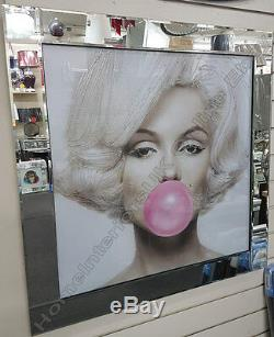Marilyn Monroe with pink bubble gum, crystals, liquid art & mirror frame pictures