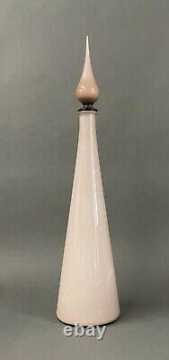 Mid Century Empoli Pink Cased Italian Art Glass Decanter Genie Bottle Large 24