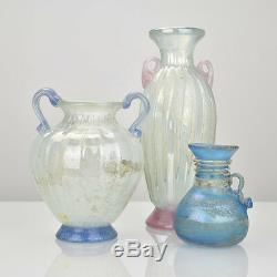 Mid Century Murano Corroso Scavo Glass Vase Vetri d'Arte Seguso Roman Style