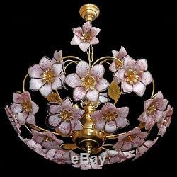 Midcentury Italian Murano Pink Flower Bouquet Art Glass & Gilt Brass Chandelier