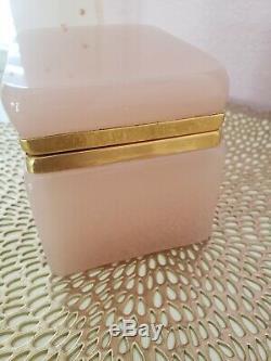 Midcentury Murano Glass Casket Box, Pink Opaline, Fratelli Ferro, Italian Glass