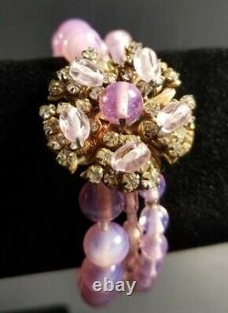 Miriam Haskell Pink Beaded Triple Strand Bracelet Crystal Flower Clasp Art Glass