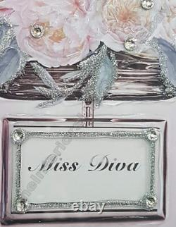 Miss Diva perfume bottle decor pictures with liquid art, crystals & mirror frames