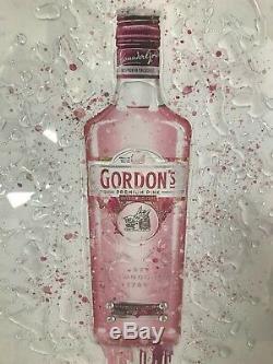 Modern Pink Gin 3D Wall Art in mirror frame, splash bottle mirrored picture
