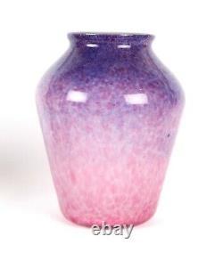 Monart Pink Purple White Cased Scottish Art Glass Shape Z Vase Moncrieff Deco