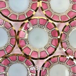 Moser Cabochon Panel Cranberry Glass Champaign/Caviar, Sorbet/Desert (8) Bohemia