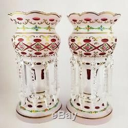 Moser Style Bohemian Czech Cut to Cranberry Enamel Flower Glass Mantle Lusters