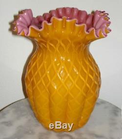 Mt Washington Apricot or Peach Glossy Cut Velvet Rose Duberry Die Away Vase