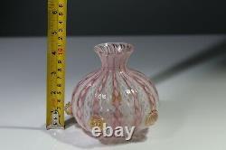 Murano Cenedese Vetri Vase Vintage pink & white latticino glass