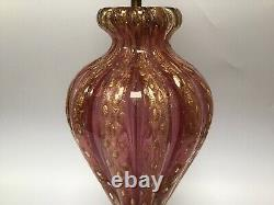 Murano Glass Lamp Barovier Toso Cordonato DOro Pink & Gold Aventurine